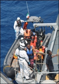 LÉ NIAMH rescue of 98 migrants 19th  July 15, photo  Irish Defence Forces, Creative Commons