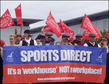Protest outside Sports Direct HQ, September 2015, photo by Elaine Evans