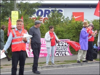 Protest outside Sports Direct HQ, September 2015, photo by E Evans