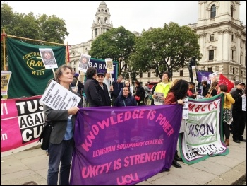 Trade unionists gathering near parliament for a Kill-the-Bill protest called by the bakers' union, 14.9.15, photo Paula Mitchell