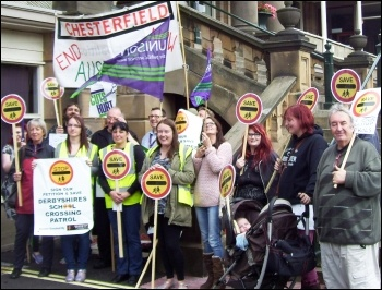 Protesting against school crossing cuts by Derbyshire County Council, photo by E Evans