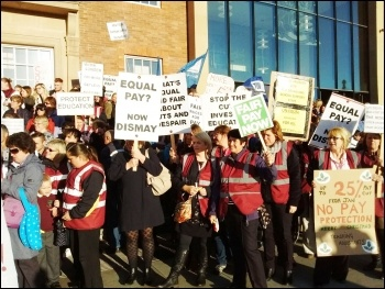 Protest of school support staff outside Derby council house, 7 Oct 2015, photo by S Score