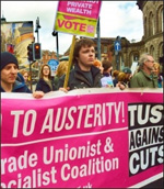 TUSC banner on TUC demo against austerity, photo by Iain Dalton