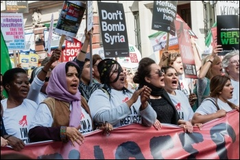 Tens of thousands demonstrated in London against the government\'s plan to escalate attacks on Syria, photo by Paul Mattsson