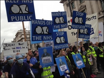 Junior doctors and health workers march against attacks on unsocial hours pay, London, 17.10.2015, photo Sarah Wrack
