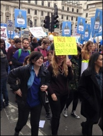Junior doctors and health workers march against attacks on unsocial hours pay, London, 17.10.2015, photo by Sarah Wrack