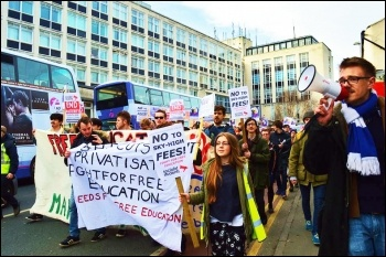 Marching for free education in Leeds, March 2015, photo by Tanis Belsham-Wray