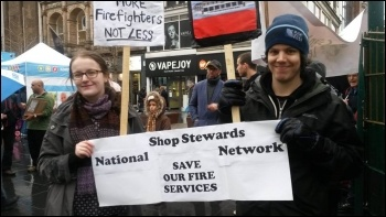 Demonstrating against fire service cuts in Leicester, photo by Caroline Vincent