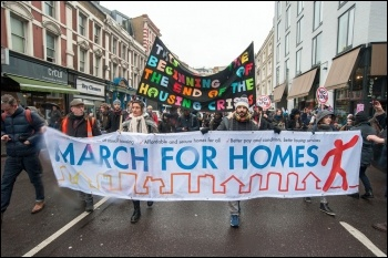 Demonstrators on the London March for Homes, 15.01.2015, photo by Paul Mattsson