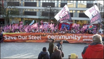 Steel workers march in Sheffield, November 2015, photo by Sam Morecroft