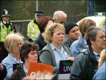 Care workers marching against council cuts in Ammanford, south Wales, photo by Socialist Party Wales