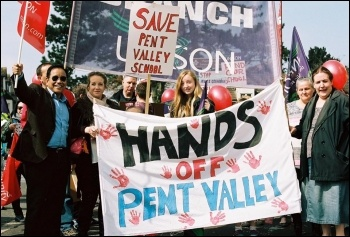 Save Pent Valley school, demo on 2.4.16, photo by Pete Fry