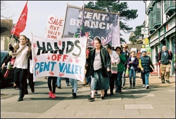 Save Pent Valley school, demo on 2.4.16, photo Pete Fry