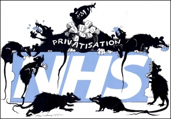 NHS privatisation cartoon, by Alan Hardman