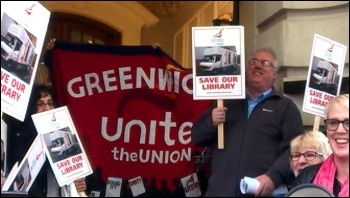 Trade unionists fighting to save Greenwich library, photo by Unite Greenwich