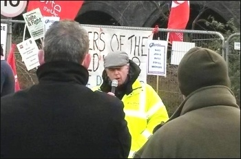 Keith Gibson speaking; outside Templeborough Waste to Energy Power Station in Rotherham., photo by  A Tice