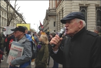 Tony Mulhearn  speaking from the Socialist Party's 'open mic' at an anti-austerity demonstration in London, photo Paula Mitchell