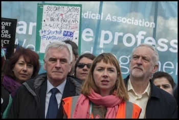 Jeremy Corbyn and John McDonnell joined the joint Junior doctors and teachers demonstration 26-4-16, photo by Paul Mattsson