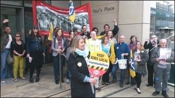 Socialist Party member Marion Lloyd (center foreground) and other BIS workers on the picket line in Sheffield, 19.5.16, photo A Tice