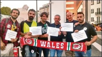 Dock workers in Portugal show solidarity with National Museum Wales strikers, June 2016, photo by João Filippe Ruivo Félix