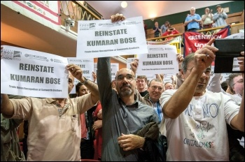 Delegates and observers at the 10th annual NSSN conference show solidarity with sacked bakers' union rep Kumaran Bose, photo Paul Mattsson