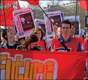 Socialist Party members marching against the occupation of Iraq, photo Alison Hill