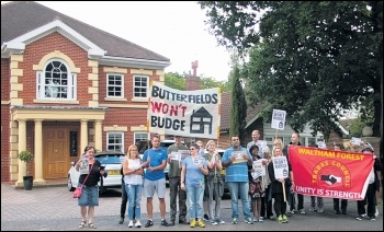 Threatened Butterfields tenants protesting outside their bully landlord's house, 3.7.16, photo Mike Cleverley