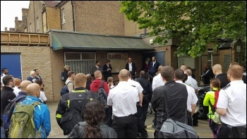 Prison officers 'meeting' at Wormwood  Scrubs, west London photo Rob Williams