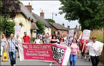 TUSC supporters & Socialist Party members marching in Tolpuddle, July 2016, photo by Matt Carey