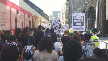 South London #BlackLivesMatter marching near City Hall, 6.8.14, photo James Ivens