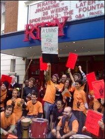 Cinema workers in Bectu at the Ritzy Picturehouse, Brixton, striking for the London Living Wage in 2015