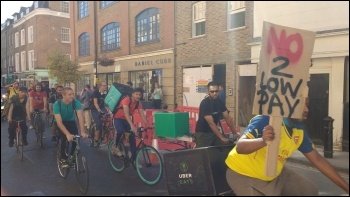 Uber Eats drivers protest over pay photo Scott Jones