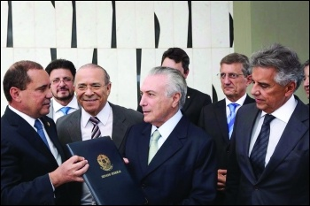 Capitalist politician Michel Temer gratefully accepts the presidency following his constitutional coup photo Marcos Correa/Creative Commons