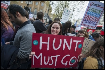 Junior doctors and teachers march together in a joint BMA and NUT demonstration in April. Now Cameron is gone we need to get Hunt and the rest of the Tories out photo Paul Mattsson