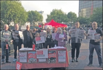 Socialist Party members on the Birmingham rally for Corbyn, 19.9.16, photo Corinthia Ward
