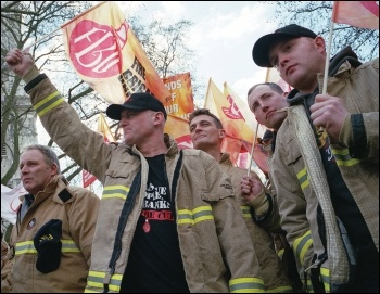 Firefighters striking in 2013, photo Paul Mattsson