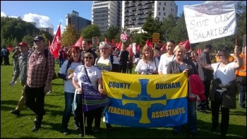 Durham TAs at the Tory party conference demo on 2 October 2016 photo Durham TAs/Twitter
