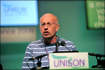Brian Debus, Branch Chair Hackney Unison, the fourth Socialist Party member charged, addresses Unison conference 2009, photo Paul Mattsson