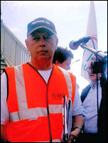 Lindsey Oil Refinery solidarity strikes: Keith Gibson addresses protest, photo Jim Reeves