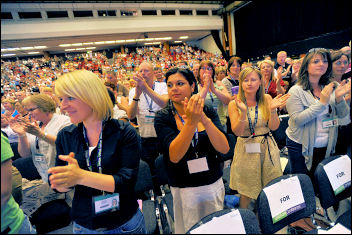 Unison general secretary Dave Prentice got a standing ovation when he had a dig at New Labour, photo by Paul Mattsson