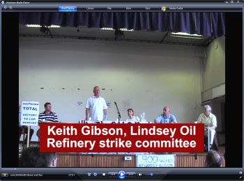 Keith Gibson, LOR strike commtittee speaks to the National Shop Stewards Network conference 2009, photo by Socialist Party
