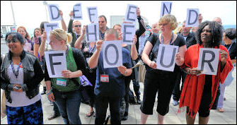 Defend the Four protest at Unison conference 2009, photo Paul Mattsson