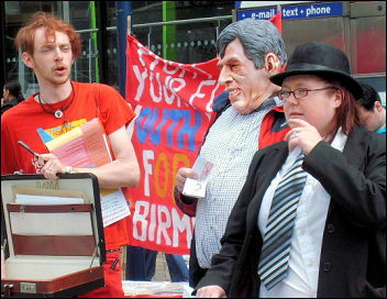 Youth Fight for jobs campaigning in Birmingham against the bankers bailouts and bonuses, photo Birmingham YFJ