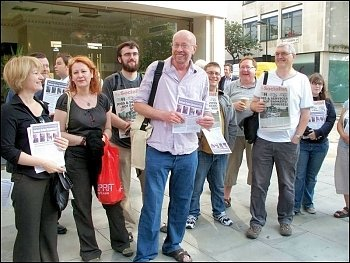 Brian Debus (centre) with supporters outside the latest Unison disciplinary hearing, photo Alison Hill