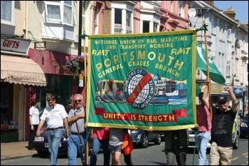 RMT banner on Portsmouth Demo in support of the Vestas workers, photo Portsmouth Socialist Party