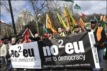 No2EU on G20 protest in London, photo Paul Mattsson