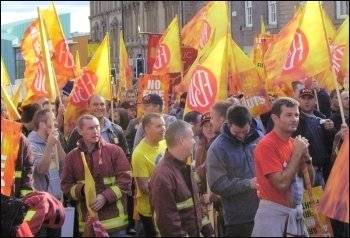 South Yorkshire Fire Brigades Union FBU demonstration, photo Yorkshire Socialist Party