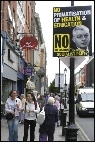 Poster (from 2008) featuring Irish Socialist Party MEP Joe Higgins, a leader of the No vote in Ireland, photo Paul Mattsson