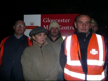 CWU strike: Postal workers on the picket lines, photo Gloucester Socialist Party