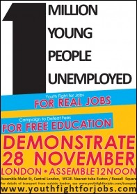 Youth Fight For Jobs leaflet about the 28 November 2009 demonstration